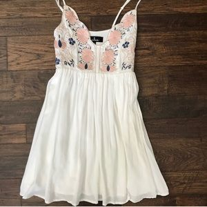 Lulus Daisy Petal Pickin' Ivory Embroidered Dress
